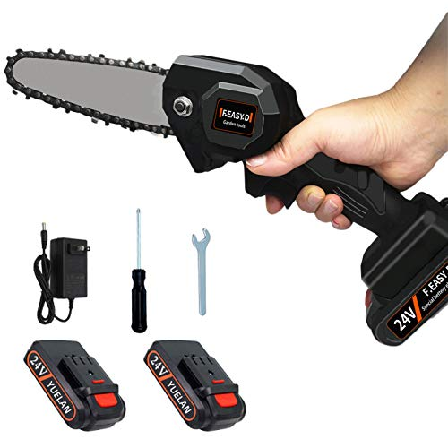 YUELAN Mini Cordless Chainsaw, [2 Battery] 4-Inch Cordless Pruning Saw Protable Chain Saw Battery-Powered Wood Cutter with Brushless Motor, Pruning Shears for Tree Wood Cutting