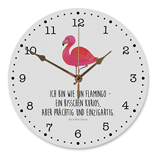 Mr. & Mrs. Panda Wanddeko, Uhr, 30 cm Wanduhr Flamingo Classic mit Spruch - Farbe Weiß