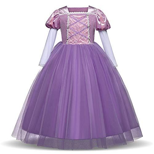 Kinderen meisjes prinses kostuums verkleden klein meisje puff lange mouwen Halloween-party cosplay jurk lange A-lijn dans party schoonheid jurk tule fancy lange jurk koningin-jurk kostuum meisjes kl.