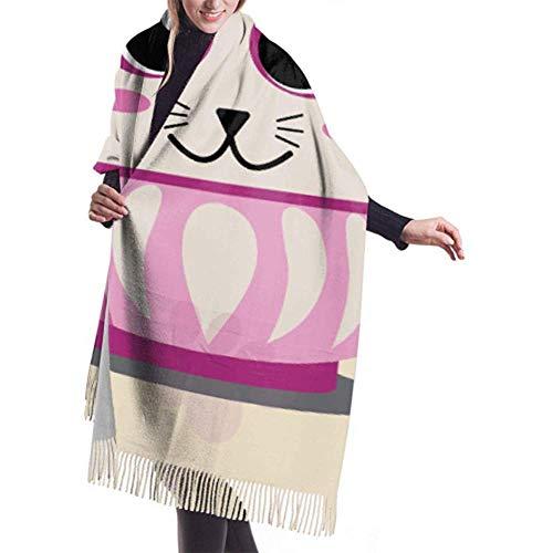 Laglacefond Winter sjaal Cashmere feel Cat Pink Daruma Sakura Flower Pink Sjaals stijlvolle sjaal wraps zachte warme deken sjaals