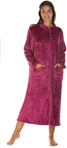 Lady Olga Ropa de dormir de forro polar en relieve de tacto suave en 3 estilos con cremallera, bata de botón o chaqueta de cama