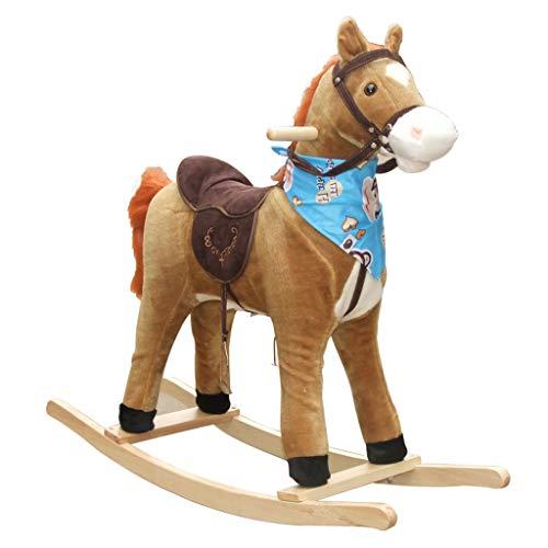 Cheval à Bascule pour Enfants bébé Petit Cheval en Bois Jouet Cheval à Bascule Musique Trojan adapté pour 3 à 12 Ans et Adultes