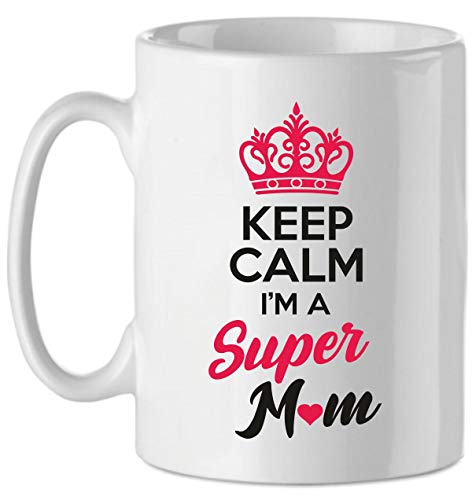 Puzzletee Tazza Festa della Mamma Keep Calm I'm a Super Mom - Idea Regalo - Mother's Day