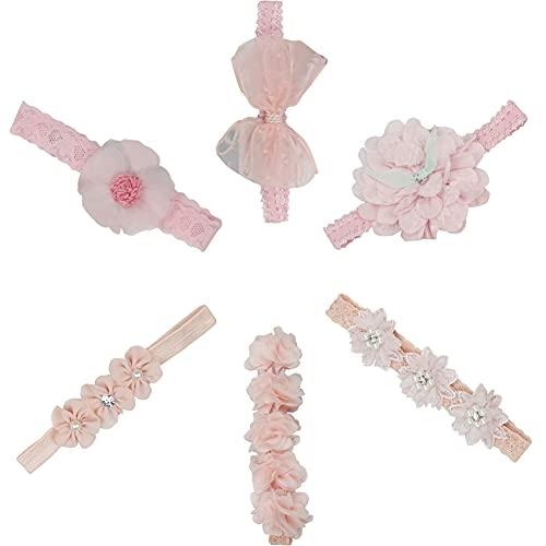 Bebé Diadema Pelo Cintas CHEPL 6 Piezas Flor Pelo Diadema Elásticas Diademas Bebe Lazos Flores Diademas para el Cabello Niña, Diademas de Flores, Utilizadas para Regalos de Bautizo