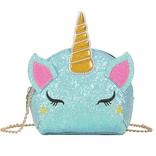 COMTERVI Unicorno Borsa a Tracolla Glitter Ciondolo a Forma di Unicorno Borsa con Tracolla a Forma di Unicorno con personalità Borsa a Tracolla Piccola a Forma Ragazze 15 * 13 * 5cm (Blu)