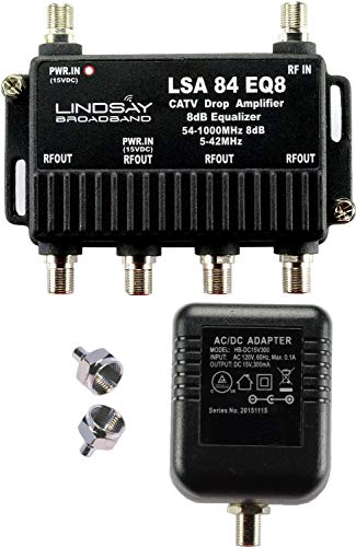 4-Port Cable TV/Antenna/HDTV/Internet Digital Signal Amplifier/Booster/Splitter/Equalizer with Passive Return, F59 Terminators (Lindsay LSA84-EQ8)