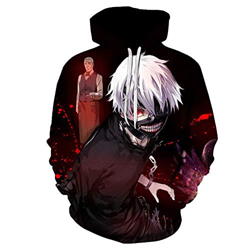 Sudadera con capucha con impresin 3D para hombre/mujer, de moda, divertida, de anime Tokyo Ghoul, sudaderas con capucha para invierno, Kaneki Ken Streetwear Ropa, M
