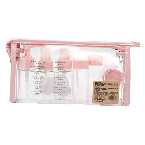 Juego de 10 botellas de cosméticos de viaje, 10 unidades, portátil, botella de spray para perfumes, ropa de agua (rosa)