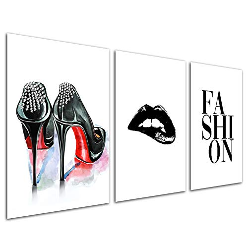 Fashion Women Art Print - Makeup Room Pictures Modern Artwork Wall Art Saying Quote Black White Heel Lip for Women Teen Girls Bedroom Home Decoration Living Room Unframed Beauty Set 3 Canvas
