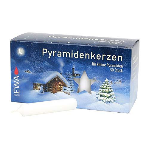 Dekohelden24 50 Pyramidenkerzen, Ø 14 mm x Länge 7,4 cm in weiß inkl.1 gratis Ersatztülle dazu.