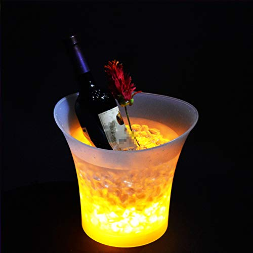 NAY Cambio De Colores Cubitera,Hielo Luminoso LED Cubeta,Cubo De Hielo De Plástico Redondo De 5L LED,para Vino Champán Cerveza Bar