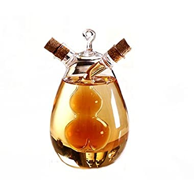 ELETON Kitchen Supplies Cruets Oil Vinegar 2 in 1,Glass Jar, Oil and Vinegar Dispenser