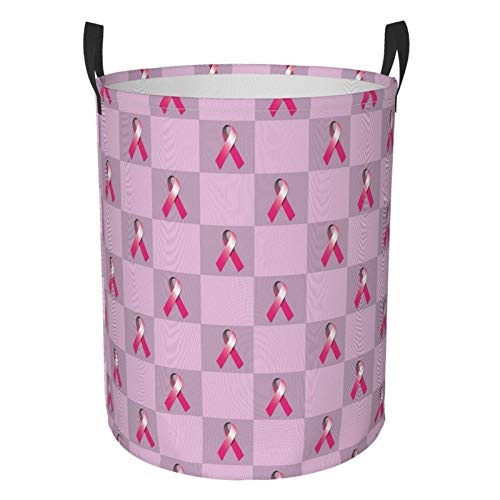 Foldable Laundry Hamper Pink Breast Cancer Ribbon Square Dirty Clothes Round Laundry Basket Waterproof Toys Clothes Storage Organizer Washing Bin Durable Handbag For Bathroom Bedroom