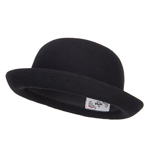 Wool Felt Upturn Brim Bowler Hat - Black OSFM