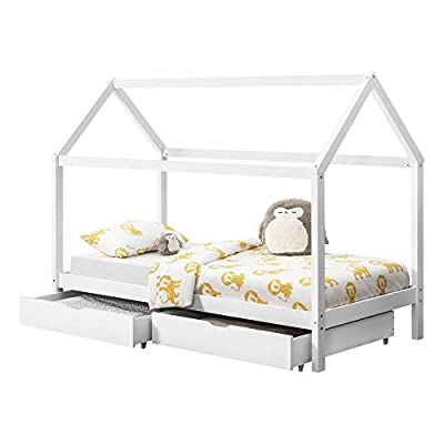 [en.casa] Children Bed with 2 Drawers for Packing 206x98x150cm Matte White Bed for Kids Pine Wood Bed Frame House Construction Design