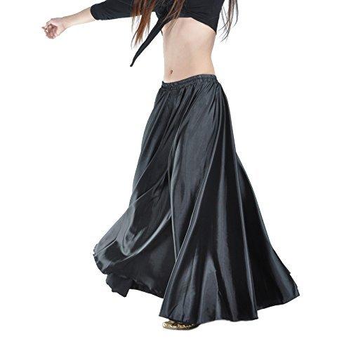 Gonna Calcifer per danza del ventre, lunga, in raso, da donna, per costumi e danzatrici professioniste, Black