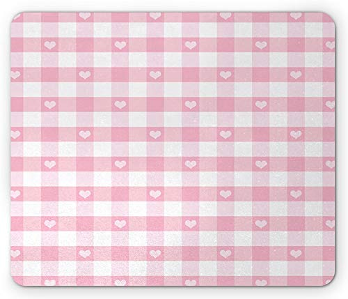 8' x 10' Checkered Mouse Pad, Romantic Pattern with Little Hearts Children Kids Girlish Design, Standard Size Rectangle Non-Slip Rubber Mousepad, Baby Pink White