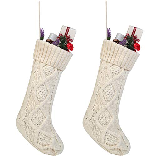 Free Yoka Cable Knit Christmas Stockings Kits Solid Color White Ivory Classic Decorations 18', Set of 2