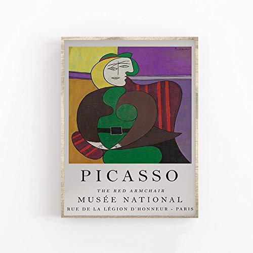 Pster Artstico de Picasso, Impresin de calidad suprema, El silln rojo, Abstracto, Cubismo, Cuadro decorativo en lienzo sin marco E 60x90cm