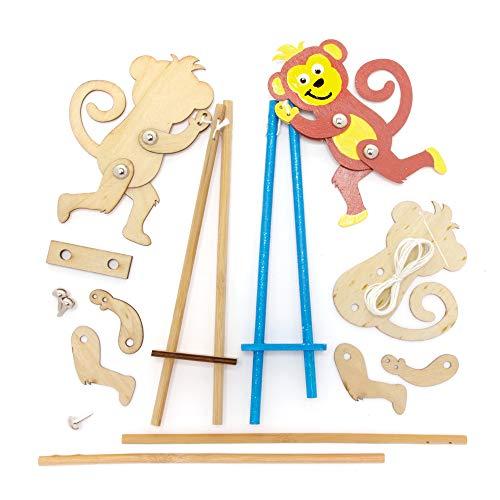 Baker Ross FE200 Kits de Marionetas de Madera de Mono - Paquete de 3, construye tus propias marionetas, marionetas para niños, kit de modelo de madera