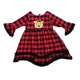 Carolilly - Vestido de Navidad para bebé, diseño de reno de cintura alta, manga larga, otoño, invierno rojo 1-2Años