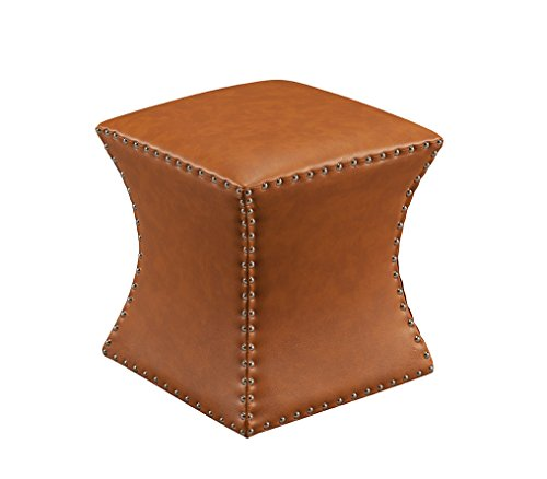 K & B Furniture 3216-BR Brown Faux Leather Square Ottoman