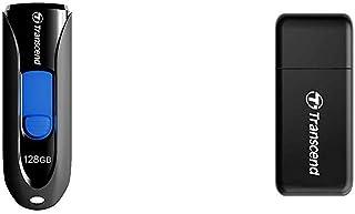 Transcend USBメモリ 128GB USB 3.1 スライド式 ブラック TS128GJF790KBE 【Amazon.co.jp限定パッケージ】 & USB 3.0 Super Speed カードリーダー (SD/SDHC UHS-I/SDXC UHS-I/microSDXC UHS-I 対応) ブラック 2年保証 TS-RDF5K