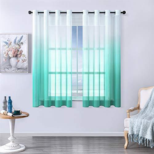 MRTREES Voile Gardinen Farbverlauf Leinenoptik Transparent Vorhang Kurz Tüllvorhang mit Ösen Seeblau 160×140cm (H×B) Modern für Dekoration Kinderzimmer Wohnzimmer Schlafzimmer 2er-Set
