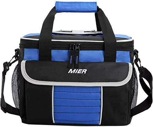 MIER Grande Morbida Cooler Bag Insulated Lunch Box Picnic Bag Raffreddamento Tote con dispensazione Coperchio, Tasche Multiple (Nero Blu)
