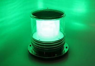 Solar Dock Warning Light - Waterproof Solar Dock Lighting - Green LED Constant On or Flashing 360 Degree Lighting