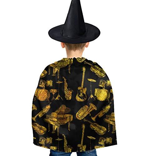 Amoyuan Unisex Kids Kerst Halloween Heks Mantel Met Hoed Trompet Piano Gitaar Kunst Wizard Cape Fancy Jurk