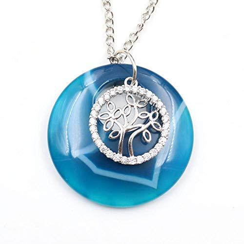 Collares Colgante Redondo De Ágata Verde Plateado De Árbol De La Vida Único con Collar De Cadena De Eslabones De Diamantes De Imitación Lapislázuli Jewelry-Blue_Agates