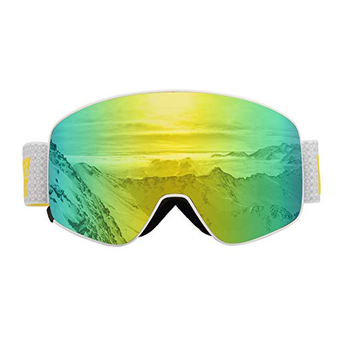 Monkey Forest Ski Goggles - OTG Magnet Interchangeable Lens 100% UV Protection Snow Goggles, Anti-Fog Snowboard Goggles with Anti-Slip Strap for Men Women