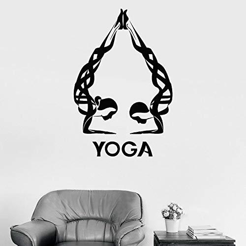 Body handstand Abstract Man Woman Yoga Studio Logo Sign Meditación Etiqueta de la pared Vinilo Arte Calcomanía Dormitorio Sala de estar Yoga Studio Club Decoración para el hogar Mural