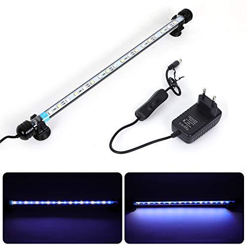 MLJ Eclairage Aquarium LED, étanche à l'eau LED Poisson Dragon Lumière D'éclairage (Expédié d'Allemagne) (37cm, Blanc et Bleu)
