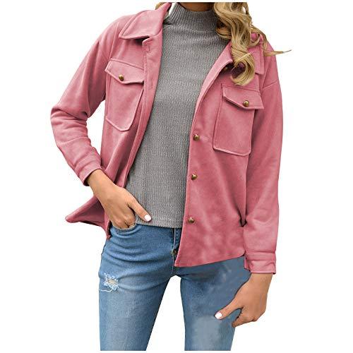 JUTOO Mode Damen Freizeit Lange Ärmel Reine Farbe Jacke Mantel (Rosa,XXL)