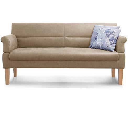 Cavadore 3-Sitzer Sofa Kira mit Federkern / Sitzbank für Küche, Esszimmer / Inkl. Armteilfunktion / 189 x 94 x 81 / Kunstleder beige