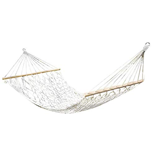 flouris Hanging Bed Camping Hammock Cotton Thread Leisure Hammock Portable Beach Swing Bed With Hardwood Spreader Bar Tree Hanging Suspended Outdoor Indoor Bed