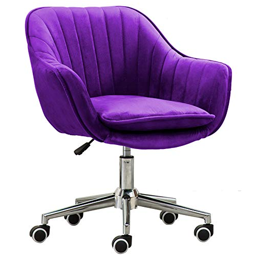 WYZQQ Velvet Adjustable Bar Chair, Comfortable Square Rotating Kitchen Chair, Ergonomic Backrest Stool Chair Study Chair Office Chair - Detachable Seat Cushion, Chromed Metal Base