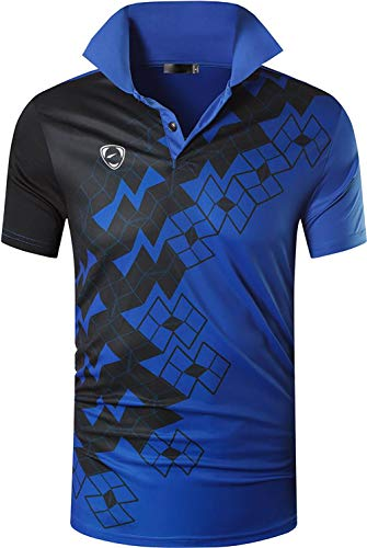 ZITY Mens Polo Shirt Cool Quick-Dry Sweat-Wicking Color Block Short Sleeve Sports Golf Tennis T-Shirt(Cblue-L)
