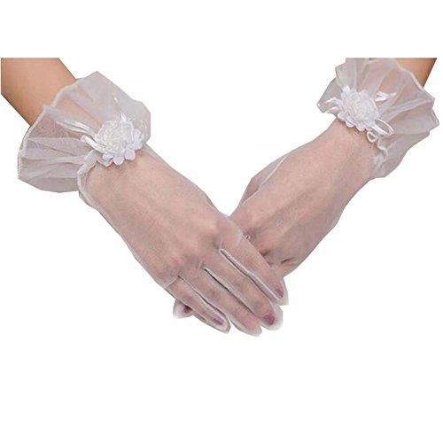Gants de dentelle blanche courte bowknot Gants de mariée élégante mariée