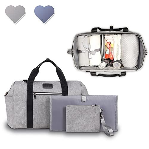 LIONELO Ida Mommy Bag, Borsa termica per passeggino, 2 tasche interne per bottiglie, per salviette, fasciatoio, borsa per cosmetici, tracolla per il fissaggio al passeggino (grigio)