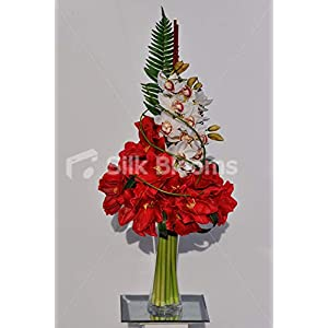 Silk Blooms Ltd Artificial Red Fresh Touch Amaryllis Arrangement w/White Cymbidium Orchids and Foliage