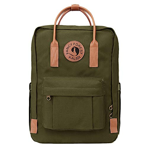 KALIDI Classic Backpack for Women,15 Inches Laptop Vintage Canvas Leather Backpack Camping Rucksack Travel Outdoor Daypack College School Bag (Army Green-Leather)