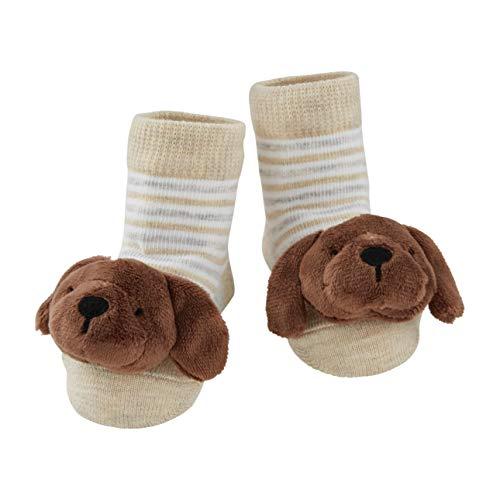 Mud Pie Baby Dog Rattle Toe Socks, Chocolate Lab, 0-12 Months