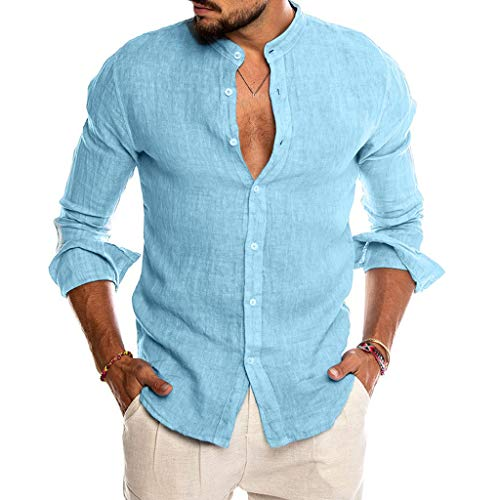 Yivise - Camicia da uomo in cotone e lino con bottoni a pressione, a maniche lunghe, vestibilità morbida, per estate, spiaggia, yoga, magliette, Blu, XXXL