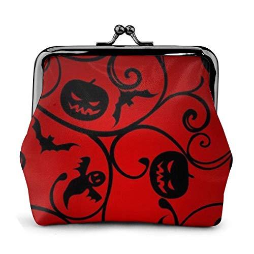 Leder Geldbörse Halloween Muster Tapete Hintergrund Schnalle Münze Geldbörsen Vintage Beutel Kiss-Lock Geldbörse ändern