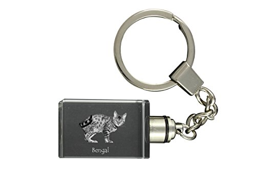 Art Dog Ltd. Bengal, Cat Crystal Keyring, Keychain, Exceptional Gift