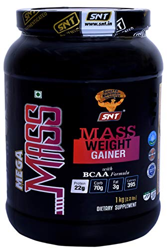 SNT Mega Mass Weight Gainer Powder Chocolate 1 Kg / 2.2 Lbs Lean Whey Protein Muscle Mass Gainer for Gain Weight