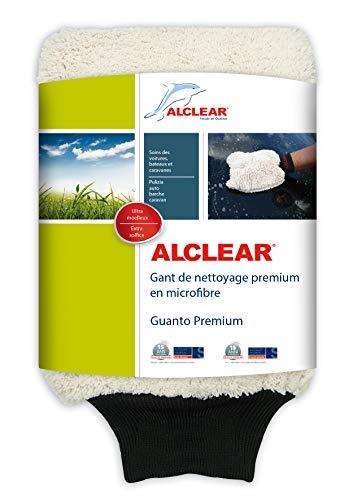 ALCLEAR Guanto di microfibra per lavare i veicoli e moto con shampoo, ca. 27 x 17 cm, Bianco